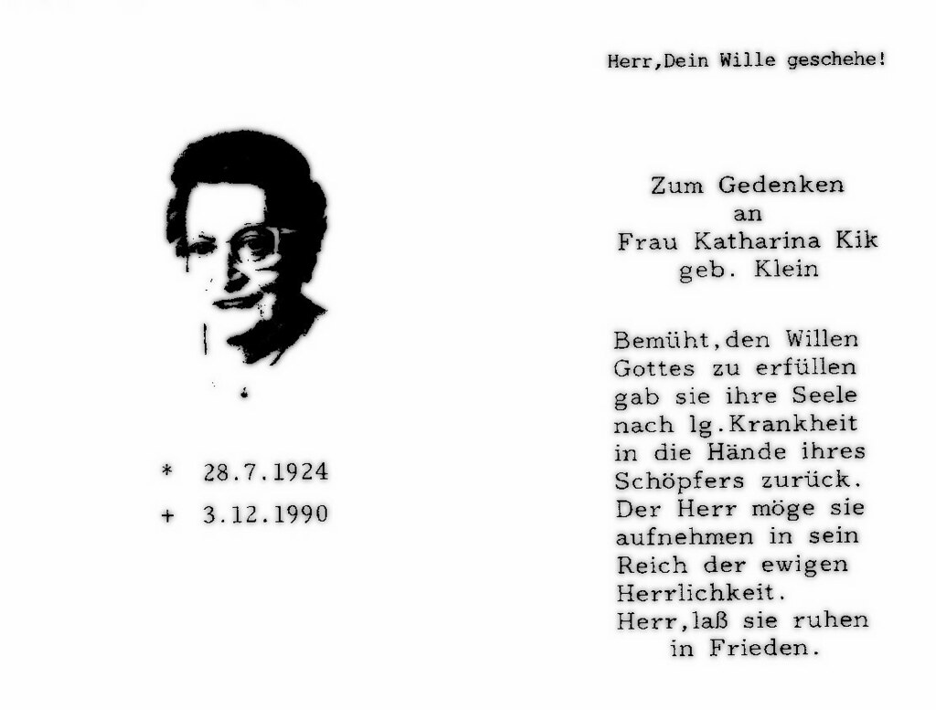 Totenzettel Kick, Katharina † 03.12.1990