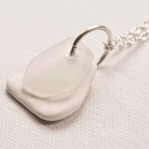 White Ceramic & Sea Glass Necklace | by Laura by The Sea