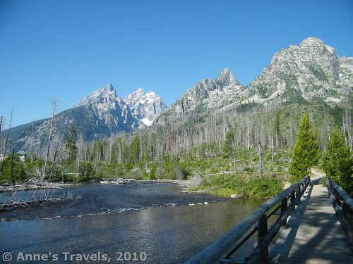 Crossing the String Lake Outlet in Grand Teton National Park en route to Cascade Canyon, Wyoming