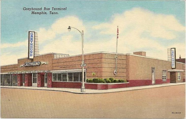 Greyhound Bus Terminal Memphis Tenn C 1940s Postcard