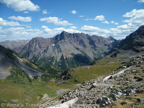 The back side of the Maroon Bells from Buckskin Pass, Colorado