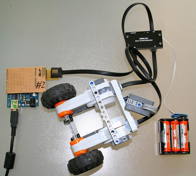 Arduino controls lego motors via i c using an nxtmmx board