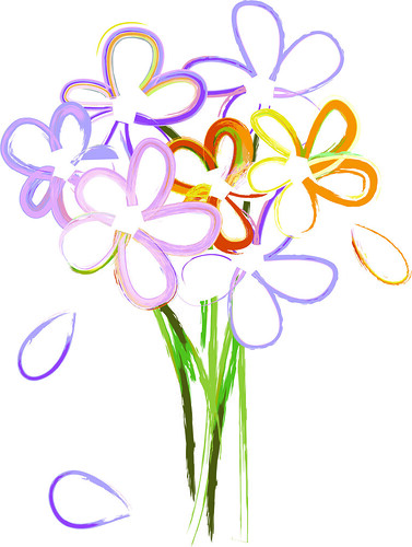 Clip Art Illustration of a Simple Bouquet of Watercolor Flowers | by ...