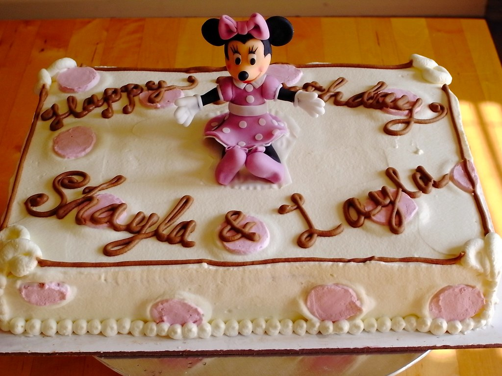 Wondrous Minnie Mouse Birthday Cake 1 4 Sheet Chocolate Strawberry Flickr Funny Birthday Cards Online Amentibdeldamsfinfo