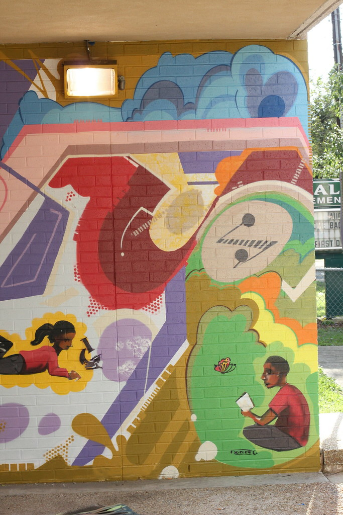 Malcolm x elementary school mural created through the for Elementary school mural