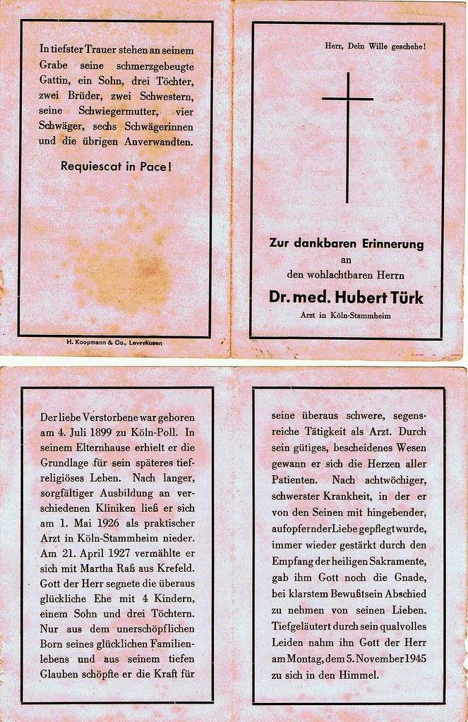 Totenzettel Türk, Dr.med.Hubert † 05.11.1945