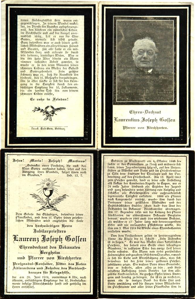 Totenzettel Gassen, Laurenz Joseph - Ehrendechant Pfarrer † 20.06.1918