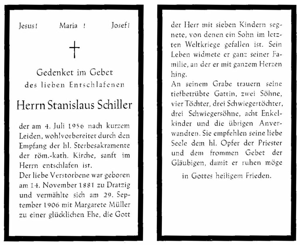 Totenzettel Schiller, Stanislaus † 04.07.1956