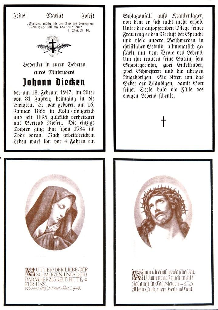 Totenzettel Diecken, Johann † 18.02.1947