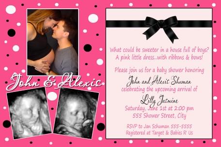 Modern hot pink black polka dot baby shower invitation flickr modern hot pink black polka dot baby shower invitation by poshnchicprints filmwisefo