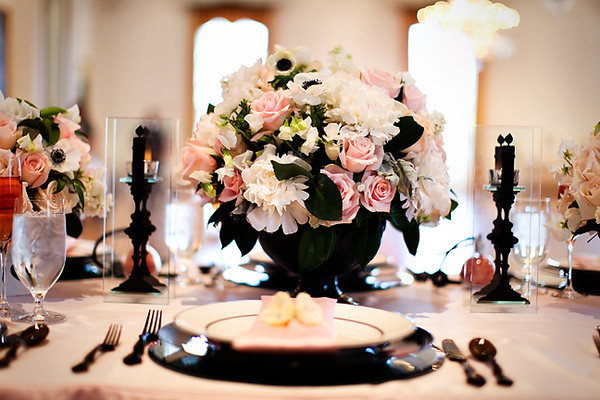 black pink centerpiece french bridal shower jasmine starr camille styles by