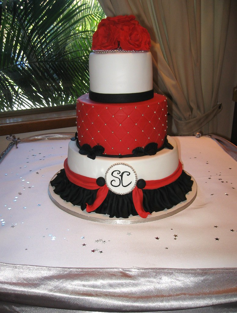 By Bee S Cake Design Red Black Silver Wedding