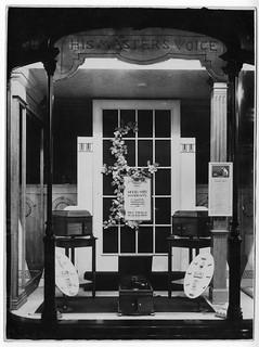 hmv 363 Oxford Street, London - Model No125 Mahogany window display.