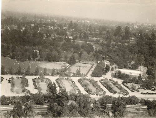 Birdseye view of ball field and parking lot | by Pasadena Digital History