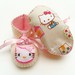 baby girl booties wth hello kitty fabric soles