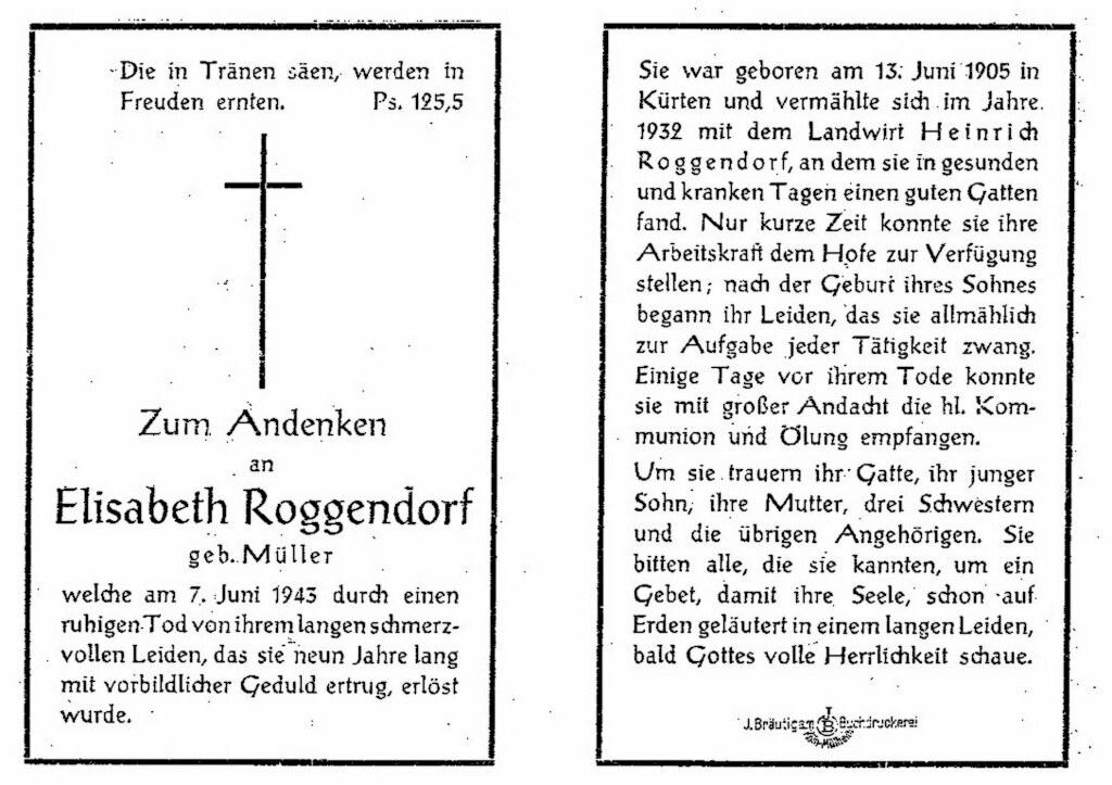 Totenzettel Roggendorf, Elisabeth † 07.06.1943