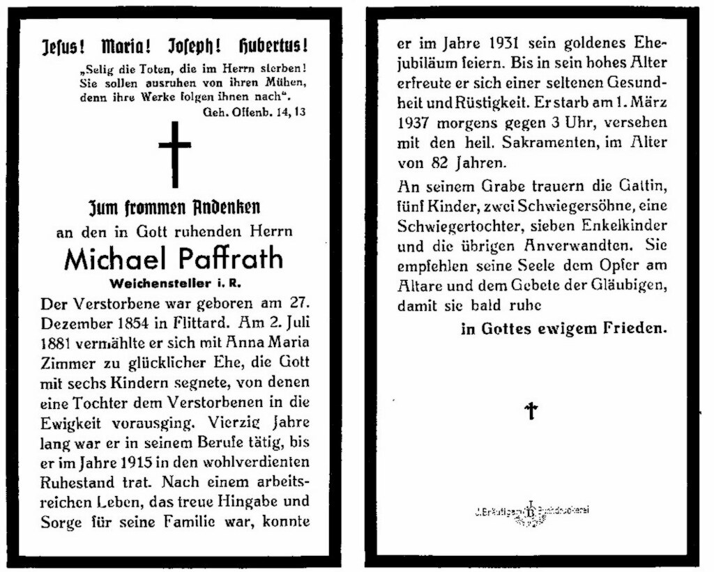 Totenzettel Paffrath, Michael † 01.03.1937