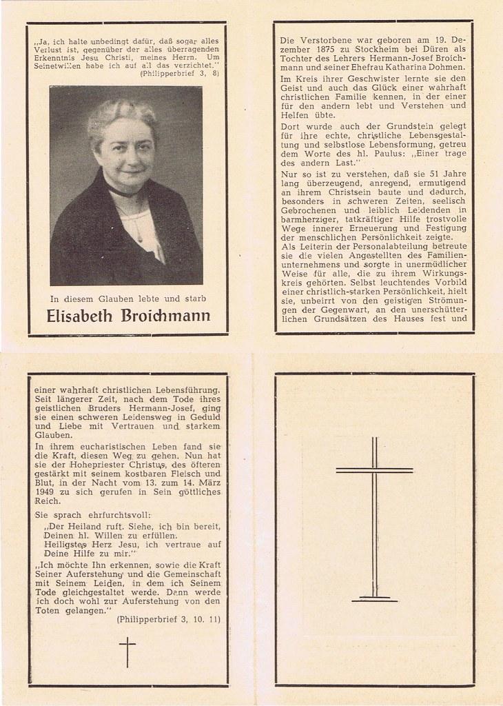 Totenzettel Broichmann, Elisabeth † 14.03.1949