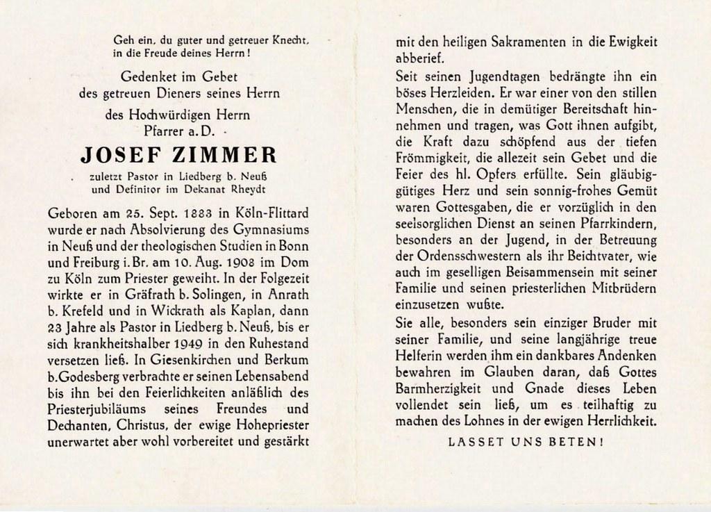 Totenzettel Zimmer, Josef - Pfarrer † 25.09.1883