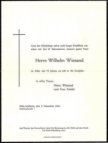 Totenzettel Wienand, Wilhelm † 02.12.1966