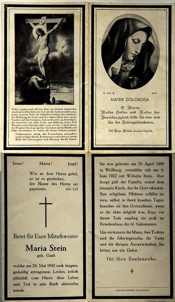 Totenzettel Stein, Maria † 24.05.1942