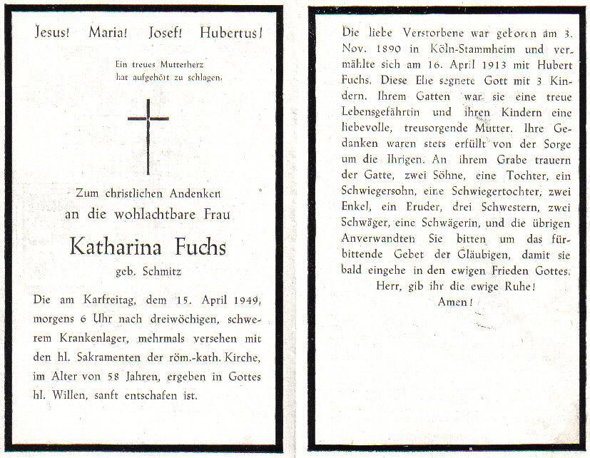 Totenzettel Schmitz, Katharina † 15.04.1949