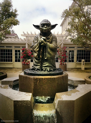 Yoda fountain outside Lucasfilm/ILM headquarters. 8.27.10. (iPhone 4 photo) | by Rob Sheridan