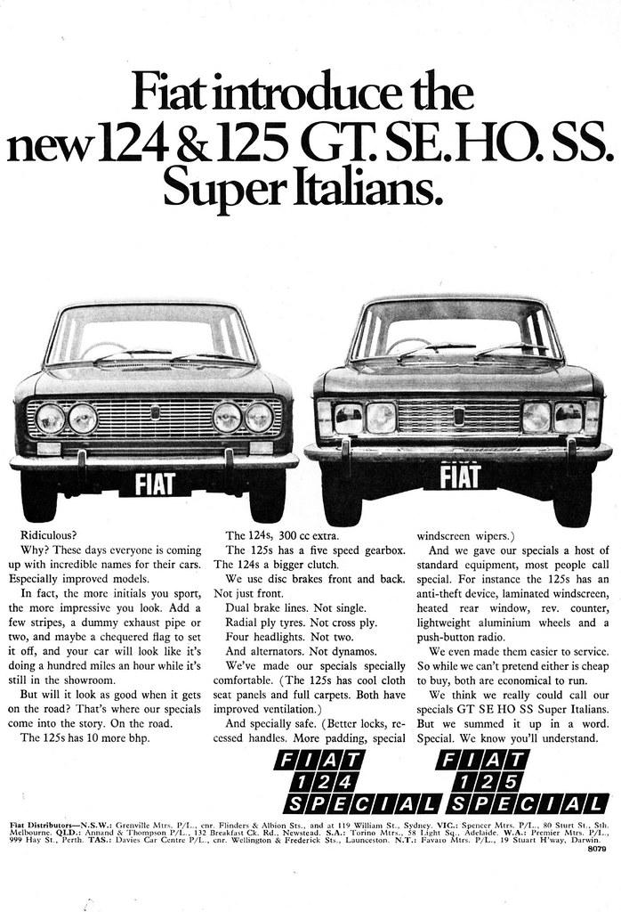 1970 Fiat 124 Special 125 Special Ad Australian Magazine Flickr