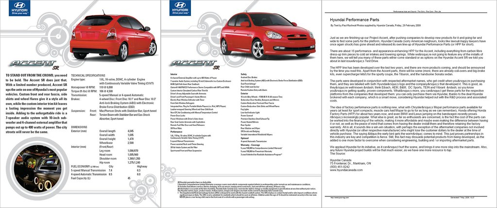 ... Hyundai Accent SR Spec Sheet - by MSVG