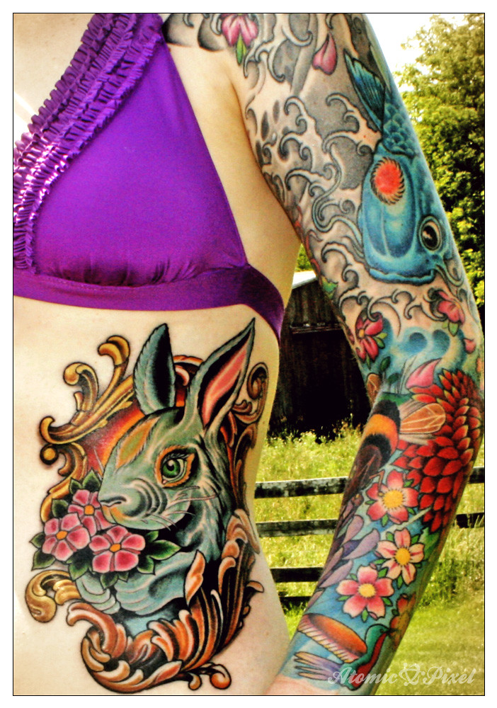 chinese zodiac rabbit tattoo new tattoo by russ abbott of flickr. Black Bedroom Furniture Sets. Home Design Ideas