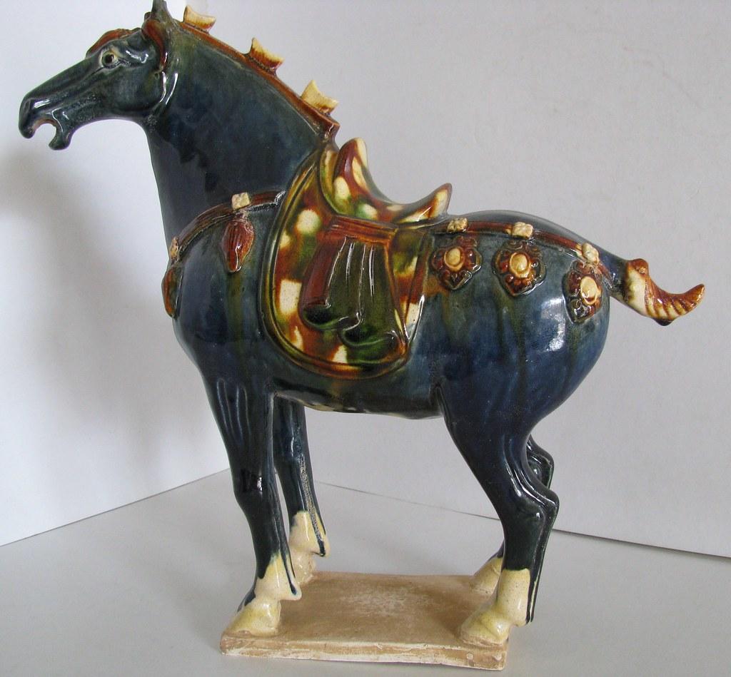 Tang Dynasty Blue Color Base Sancai Glazed Horse Flickr