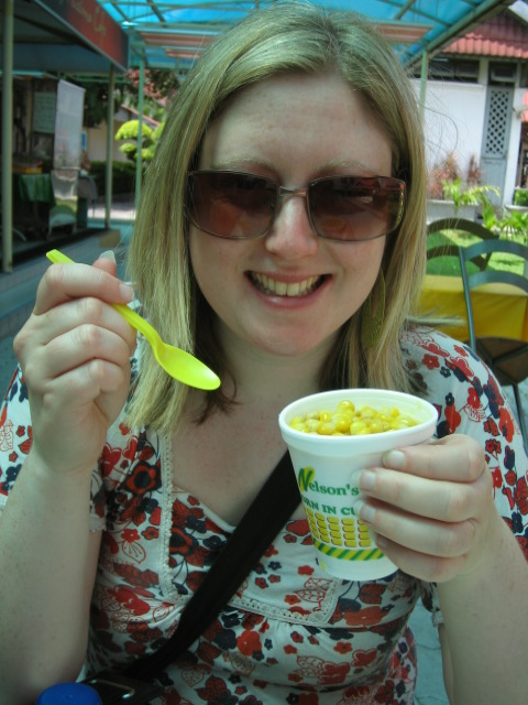 Wife eating corn