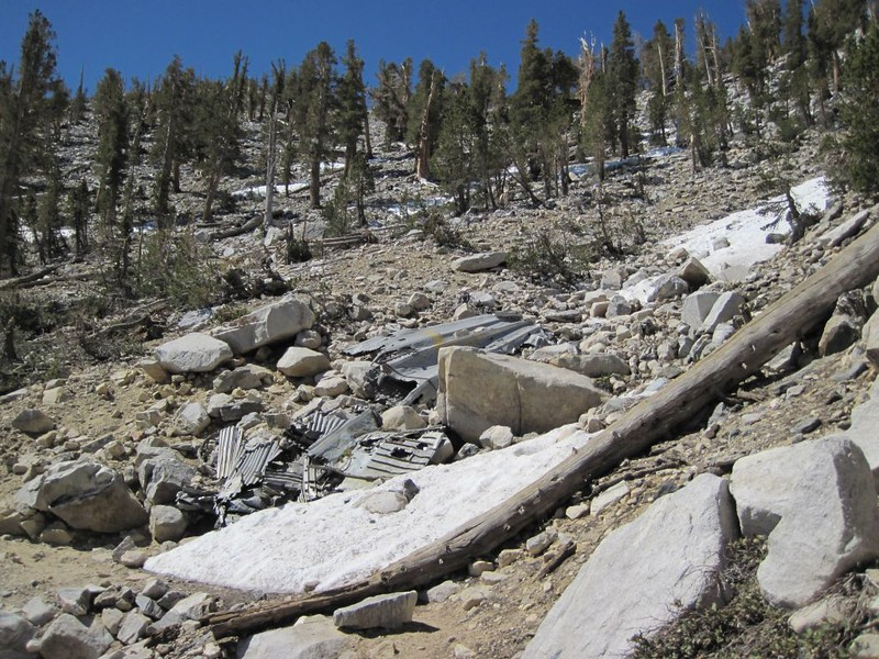 Plane crash wreckage from a C-47 on the Sky High Trail