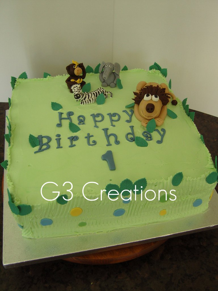 Safari Animals Themed 1st Birthday Cake A Jungle Safari Th Flickr