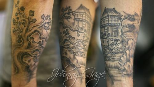 japanese scene lower sleeve tattoo | Tattooed by Johnny at