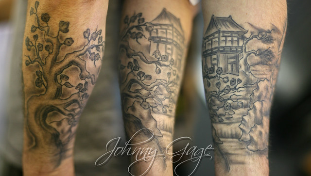 japanese scene lower sleeve tattoo flickr photo sharing. Black Bedroom Furniture Sets. Home Design Ideas