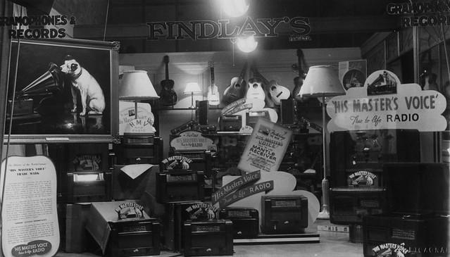 hmv goods on display in Australia - Findlay's shop window 1940s