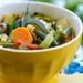 late summer vegetable pesto soup