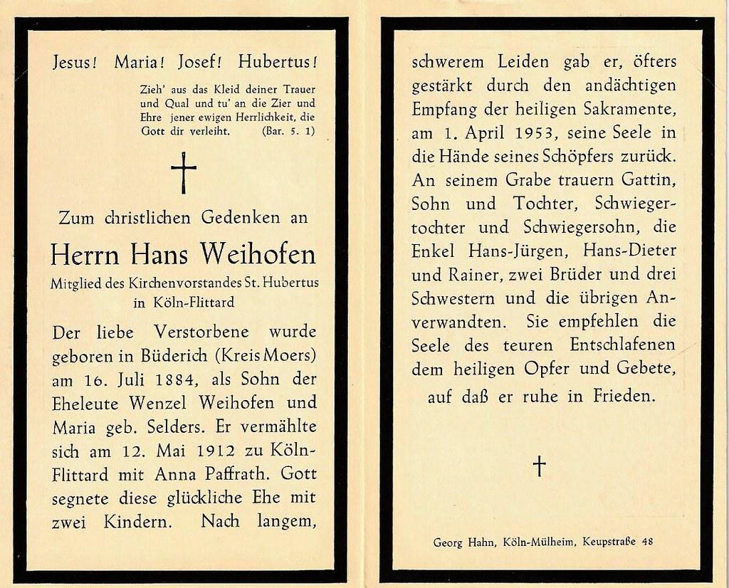 Totenzettel Weihofen, Hans † 01.04.1953