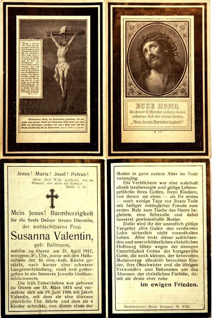 Totenzettel Valentin, Susanna † 25.04.1917
