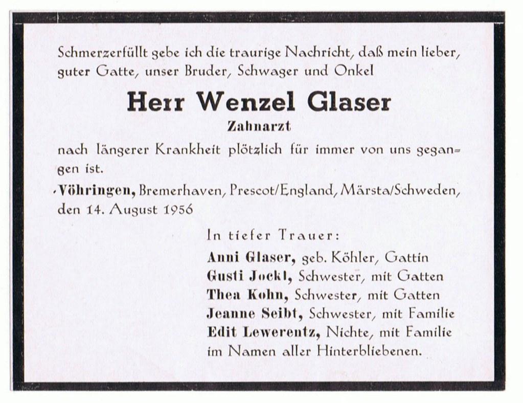 Totenzettel Glaser, Wenzel † 14.08.1956