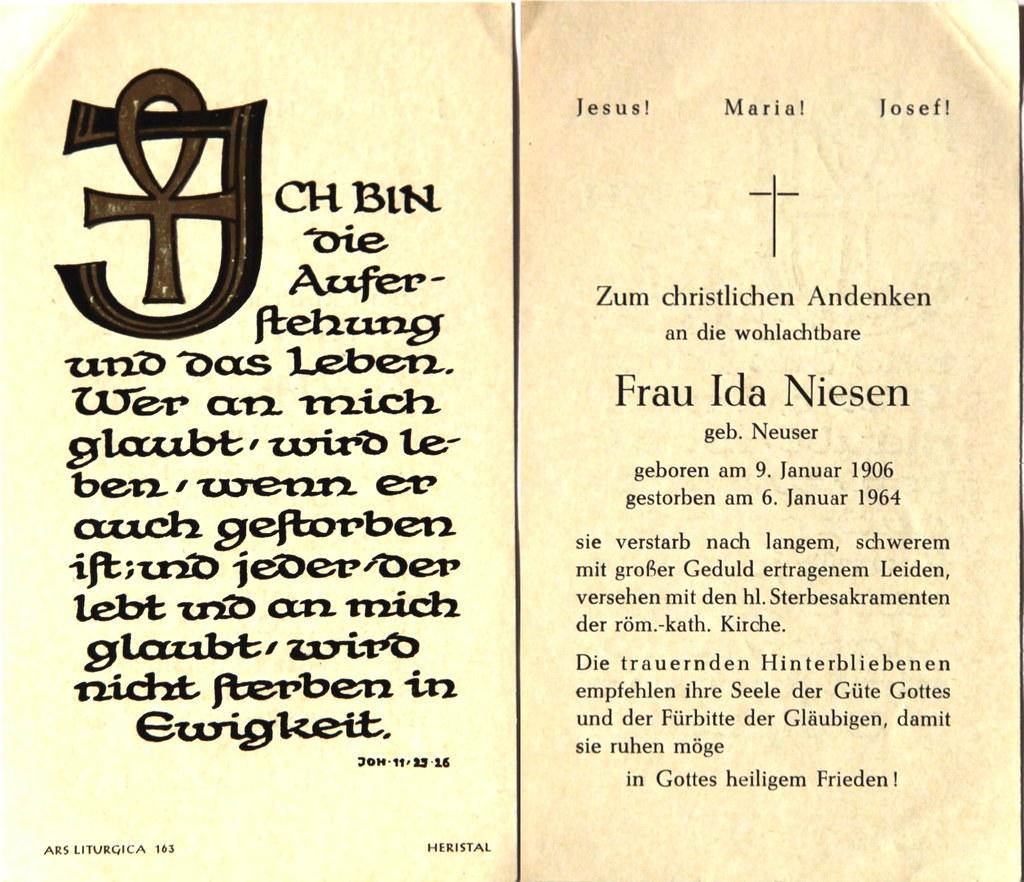 Totenzettel Niesen, Ida geb. Neuser † 06.01.1964