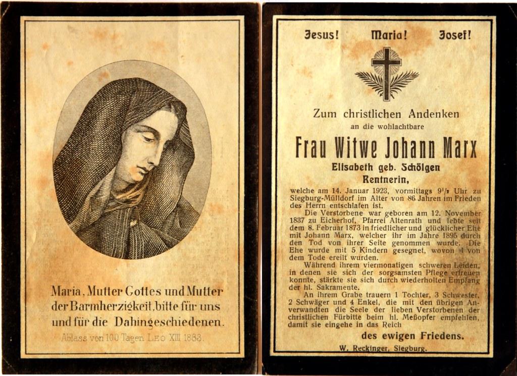 Totenzettel Marx, Elisabeth † 14.01.1923