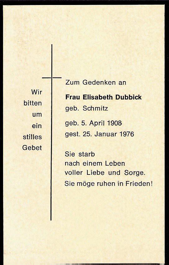 Totenzettel Schmitz, Elisabeth † 25.01.1976