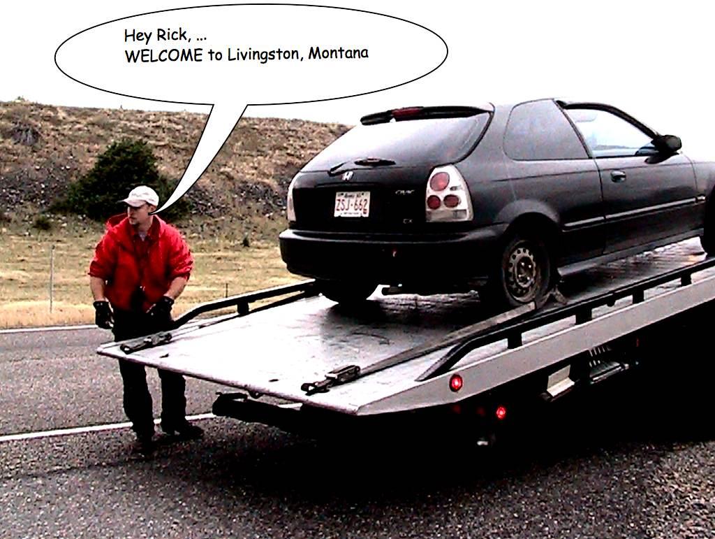 Towed Car Finder >> Honda breakdown - not funny | Near Livingston, Montana, I ...