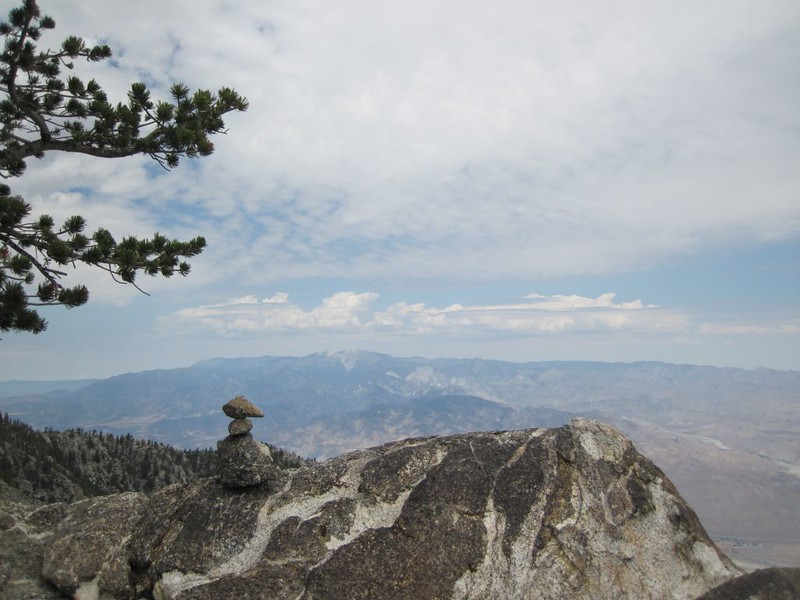 A small duck directs us over the ridge to the north, with San Gorgonio Mountain in the distance