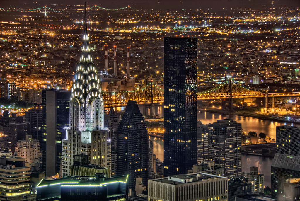 Chrysler Building Aerial At Night Manhattan A View Of