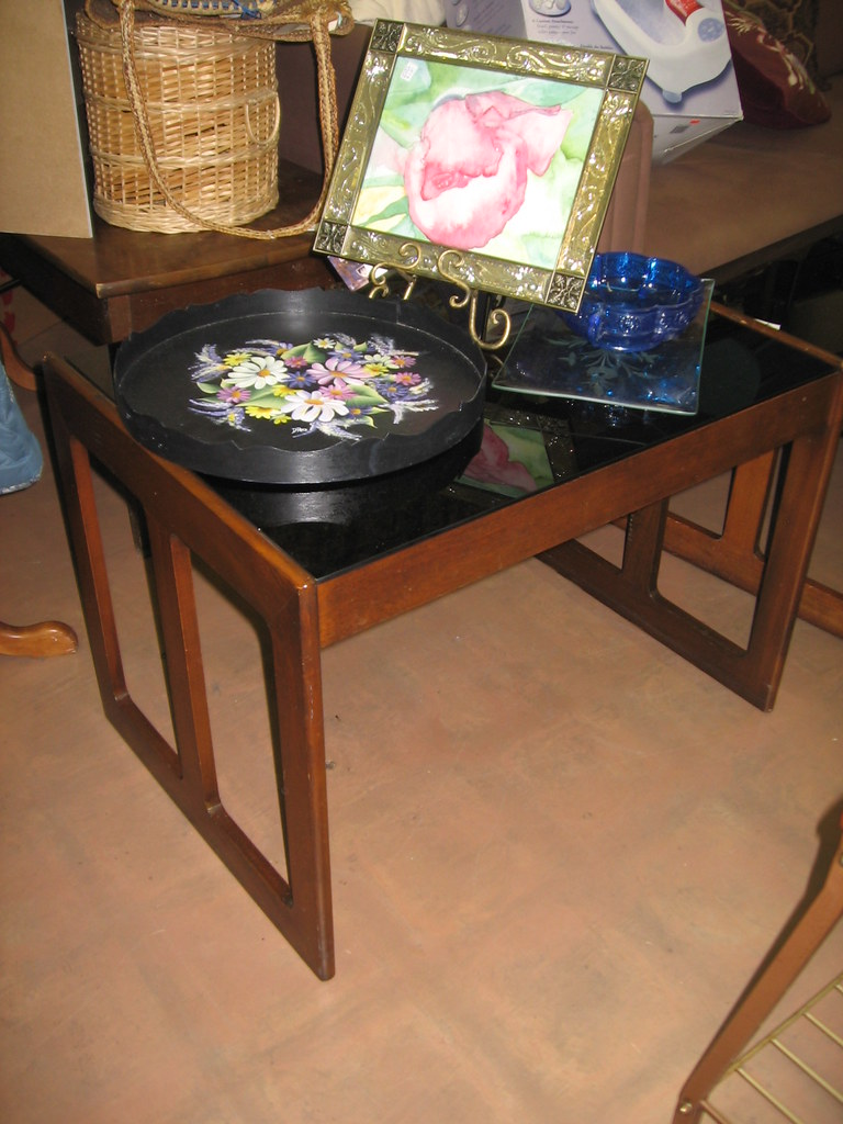 Black glass top end table the living room consignment ga flickr Black glass side tables for living room