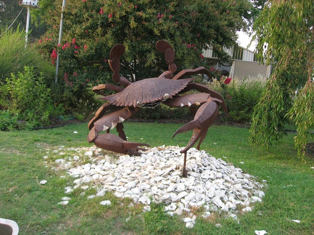 Metal crab sculpture suicide bridge maryland a