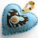 Felt Heart Ornament-Blue and Chocolate